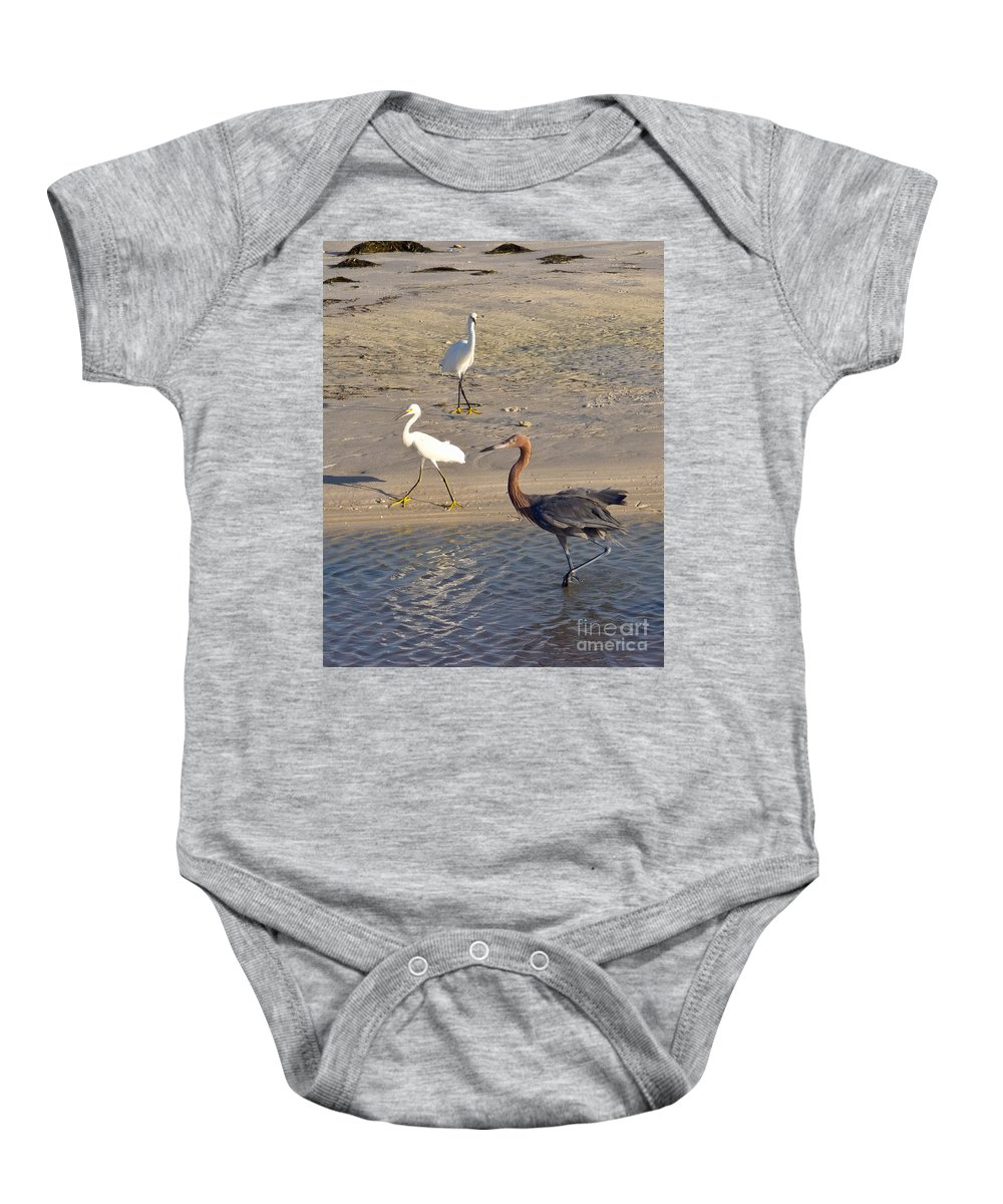 Ruffled Baby Onesie featuring the photograph Three Egrets by Stephen Whalen