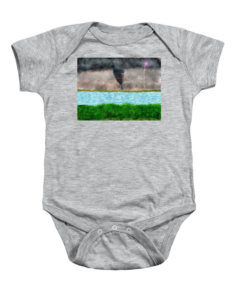 Landscape Baby Onesie featuring the digital art Thunder by Mathieu Lalonde