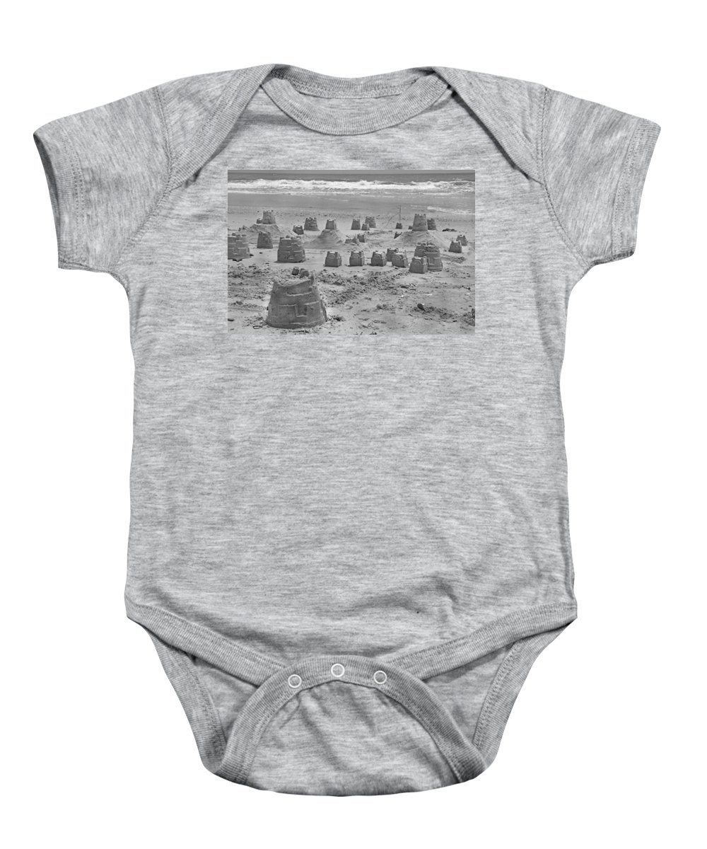 Topsail Baby Onesie featuring the photograph Topsail Island Sandcastle by Betsy Knapp