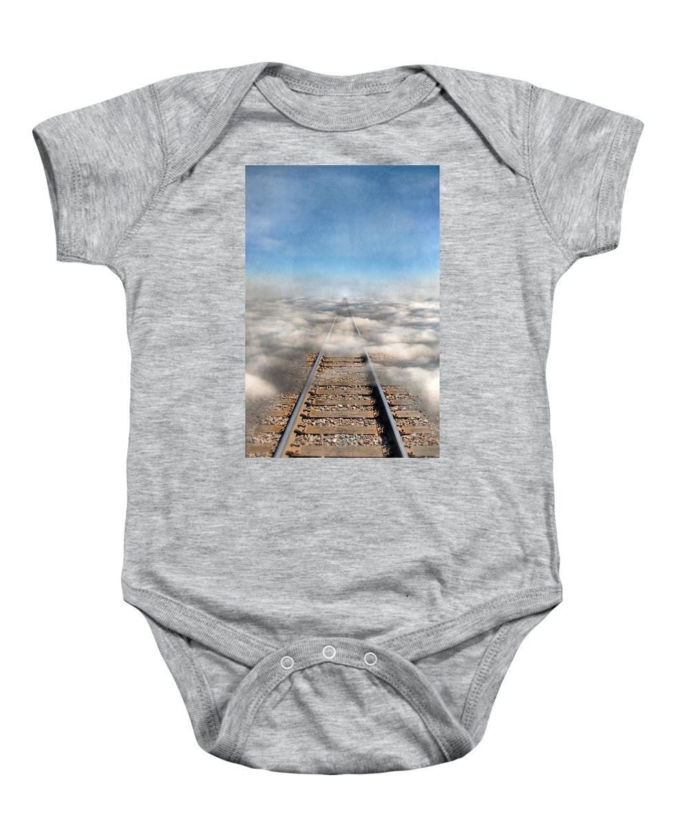 Tracks Baby Onesie featuring the photograph Train Tracks Into The Clouds by Jill Battaglia