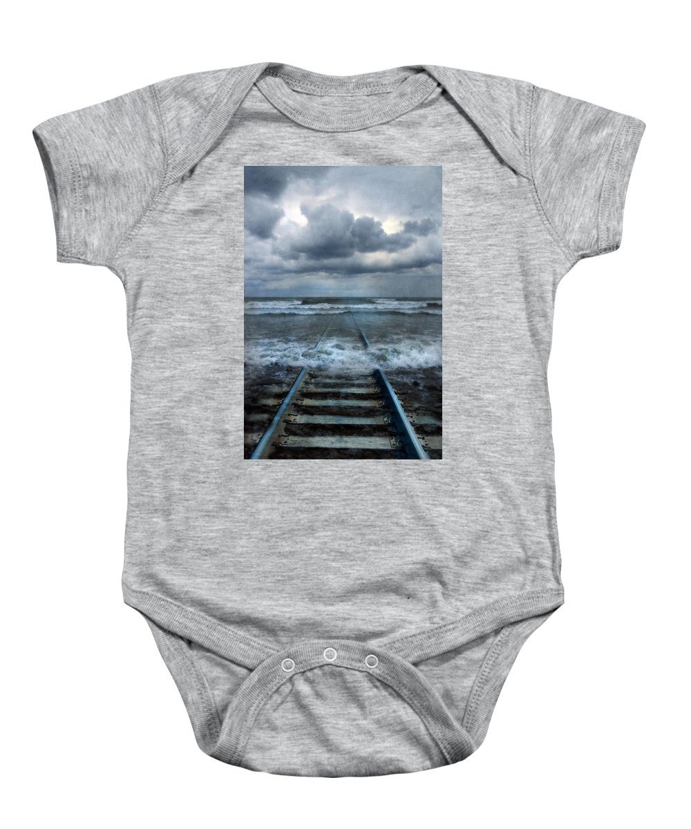 Tracks Baby Onesie featuring the photograph Train Tracks Into The Sea by Jill Battaglia