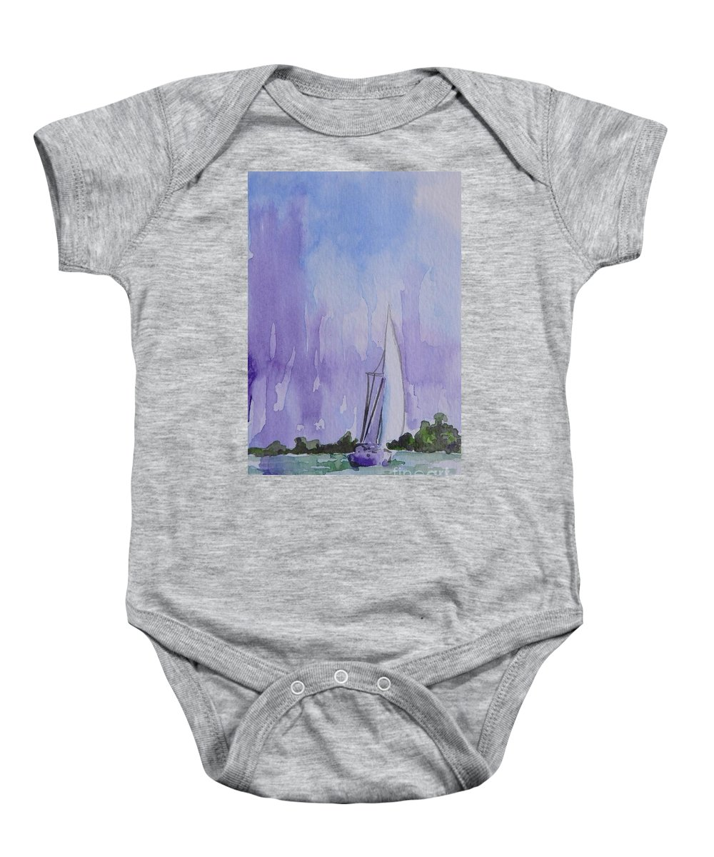 Sailboat Baby Onesie featuring the painting Tranquility by Gretchen Bjornson