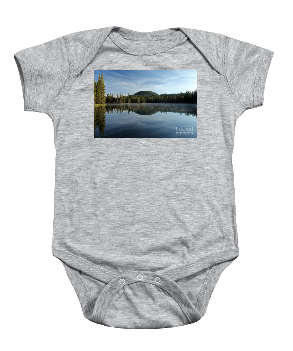 Summit Lake Baby Onesie featuring the photograph Trees On The Edge by Adam Jewell