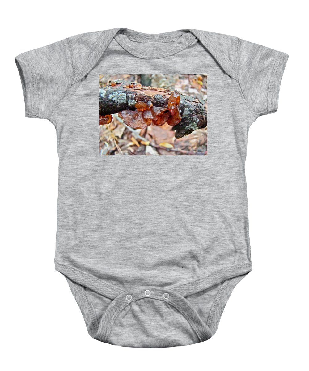 Mushroom Baby Onesie featuring the photograph Tremella Mesenterica - Reddish Brown Brain Fungus by Mother Nature