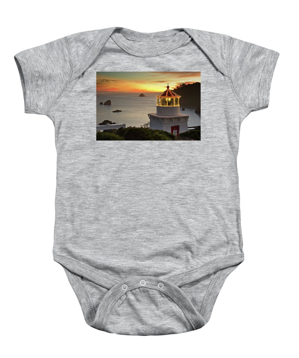Christmas Lights Baby Onesie featuring the photograph Trinidad Memorial Lighthouse Sunset by Greg Nyquist
