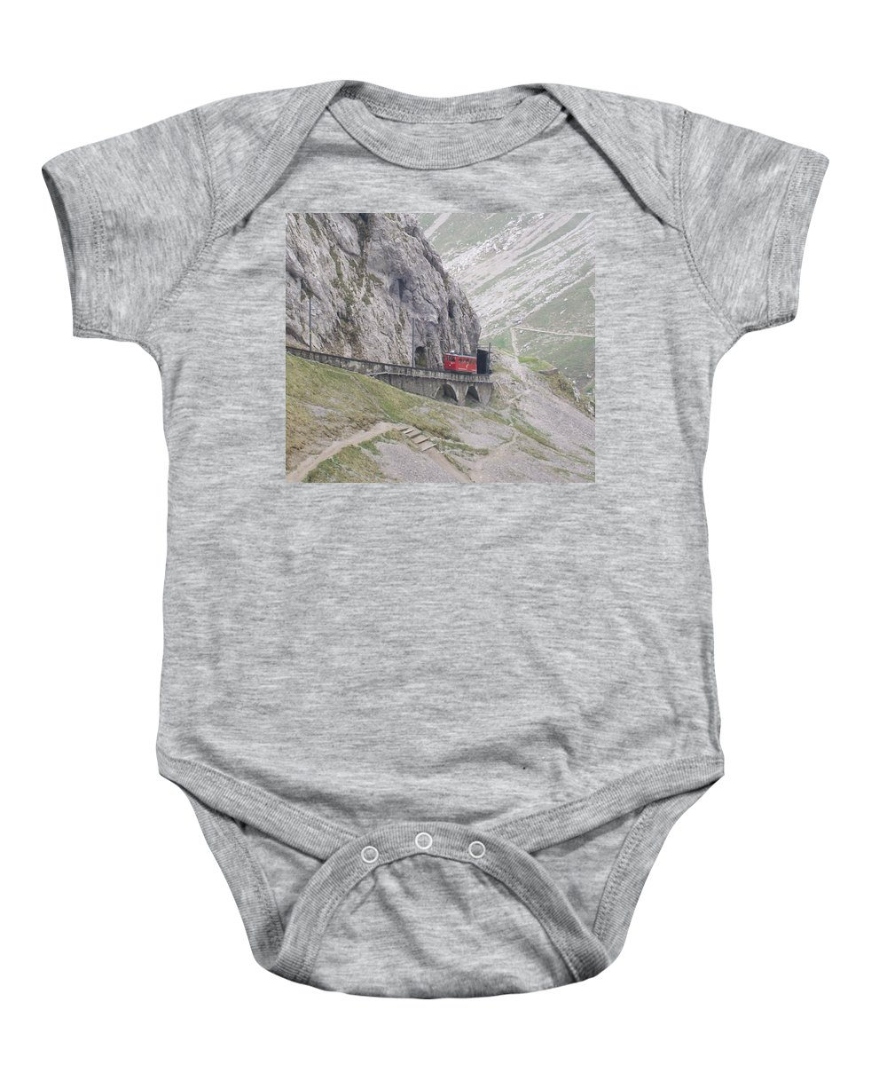 Lucerne Baby Onesie featuring the photograph Trolley Ride Through A Tunnel by Greg Plamp