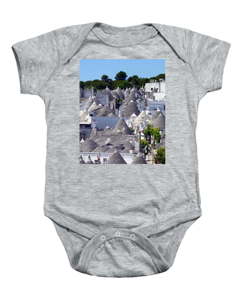 Alberobello Baby Onesie featuring the photograph Truly Whimsical Trulli by Carla Parris