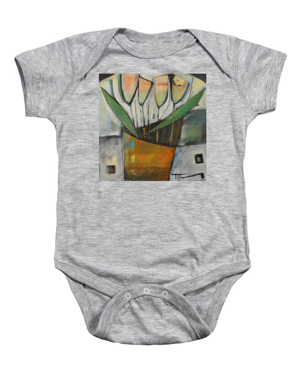 Tulips Baby Onesie featuring the painting Tulips In Terracotta by Tim Nyberg