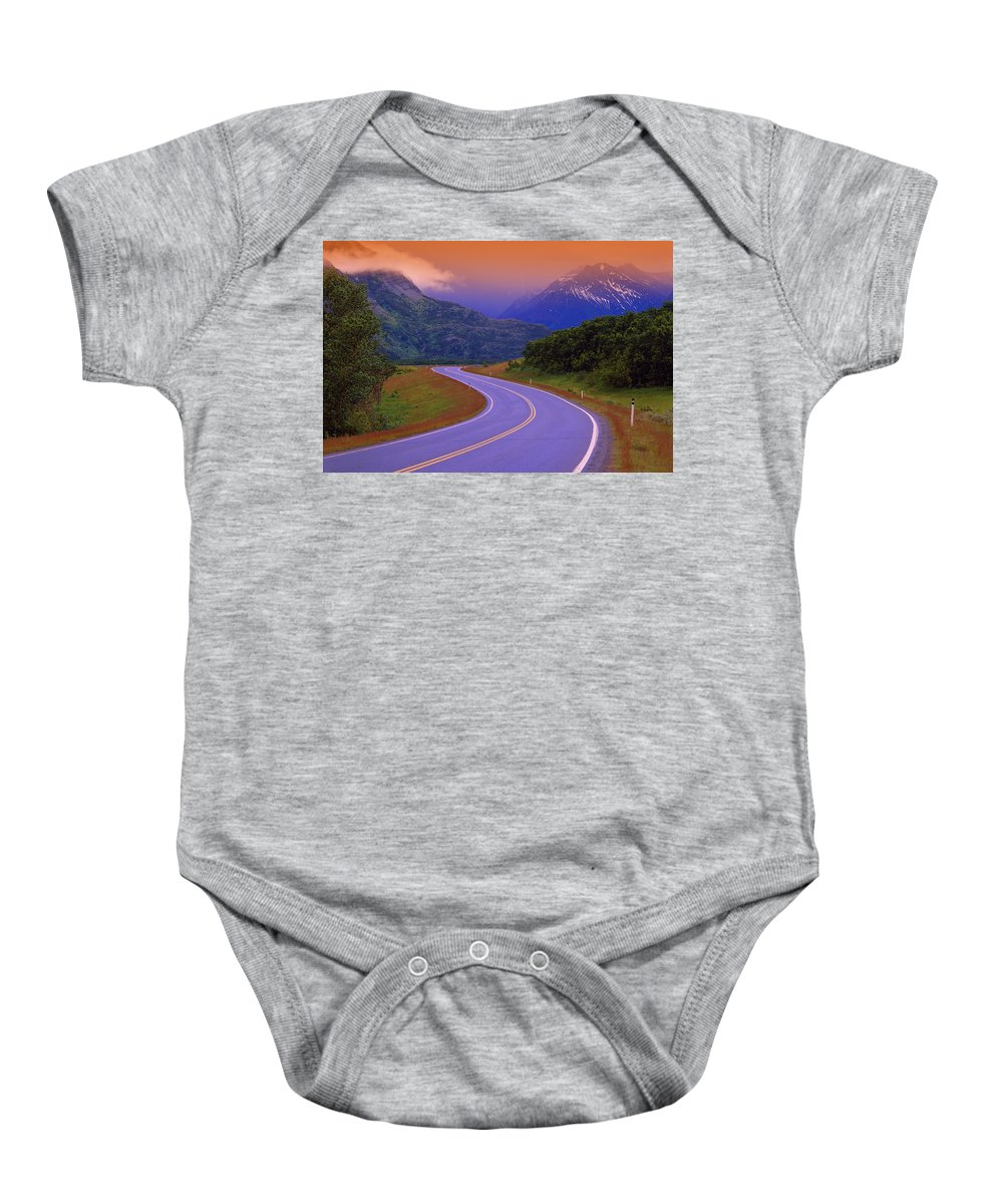 Color Image Baby Onesie featuring the photograph Two Lane Country Road In Mountains by Don Hammond