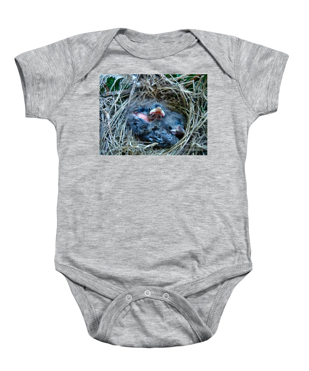 Bird Baby Onesie featuring the photograph U Want A Piece Of Me by Art Dingo