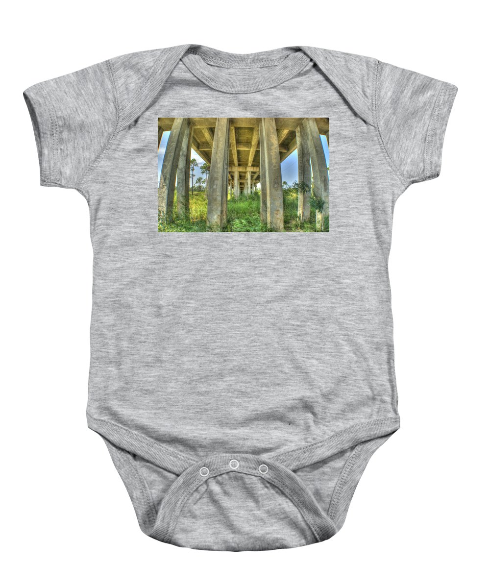 Bridge Baby Onesie featuring the photograph Under The Bridge by Beth Gates-Sully