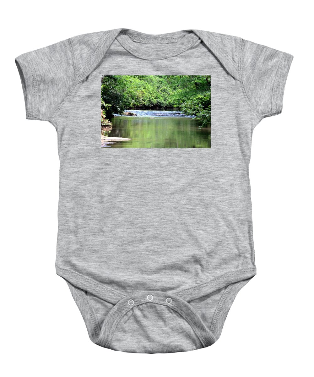 Upper Baby Onesie featuring the photograph Upper Creek Reflections by Maria Urso