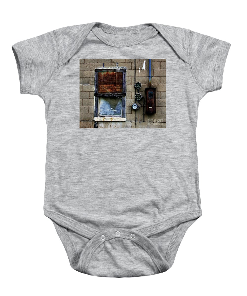 Window Baby Onesie featuring the photograph Urban Gritty by Perry Webster