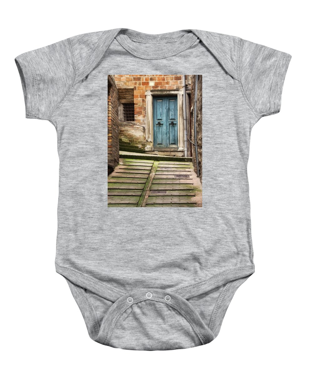 Italy Baby Onesie featuring the digital art Urbino Door And Stairs by Sharon Foster