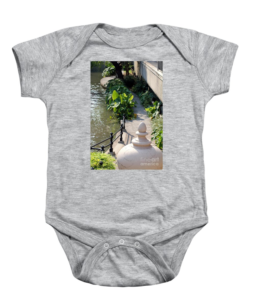 Urn Baby Onesie featuring the photograph Urn And Pathway by Alycia Christine