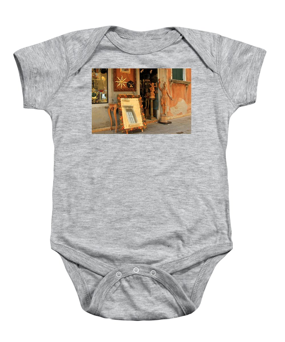 Venice Baby Onesie featuring the photograph Venice Antique Shop by Andrew Fare