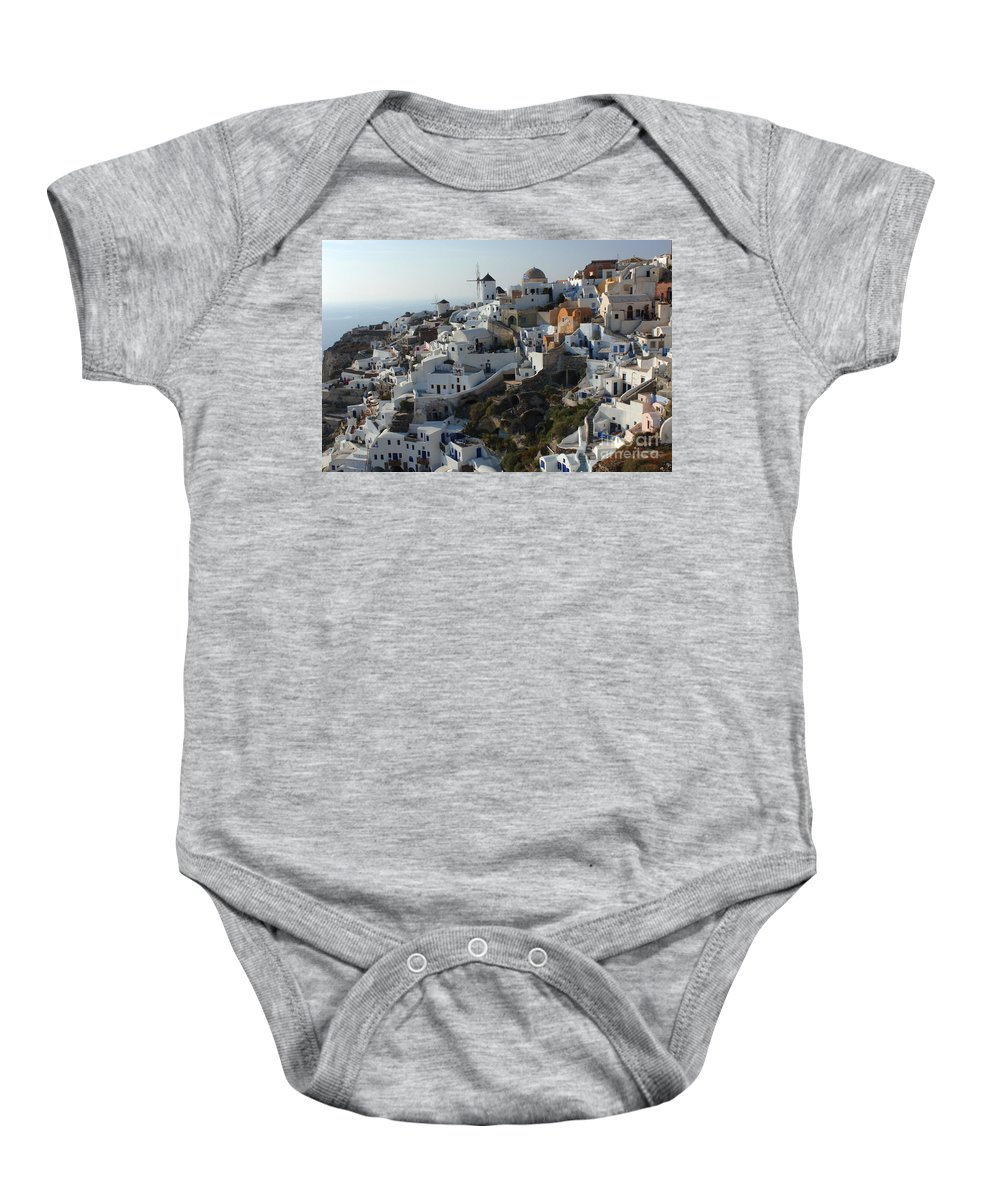The Edge Baby Onesie featuring the photograph View At Iao Greece by Bob Christopher