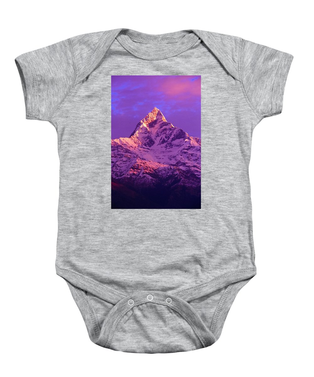 Beauty In Nature Baby Onesie featuring the photograph View Of Machhapuchhare At Sunrise From by Bilderbuch