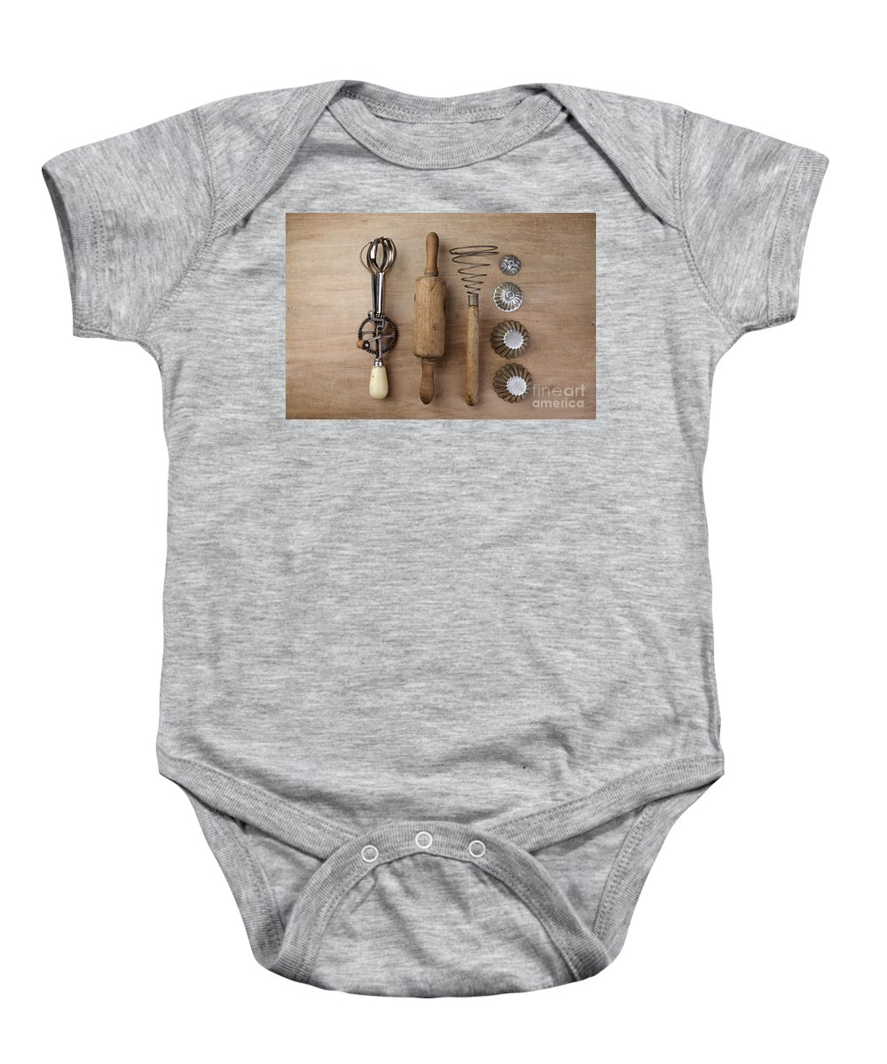 Eggbeater Baby Onesie featuring the photograph Vintage Cooking Utensils by Nailia Schwarz
