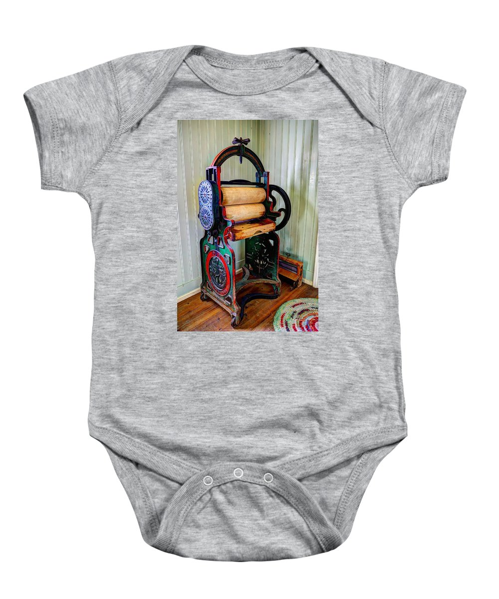 Turn Baby Onesie featuring the photograph Vintage Wringer by Ivan Slosar