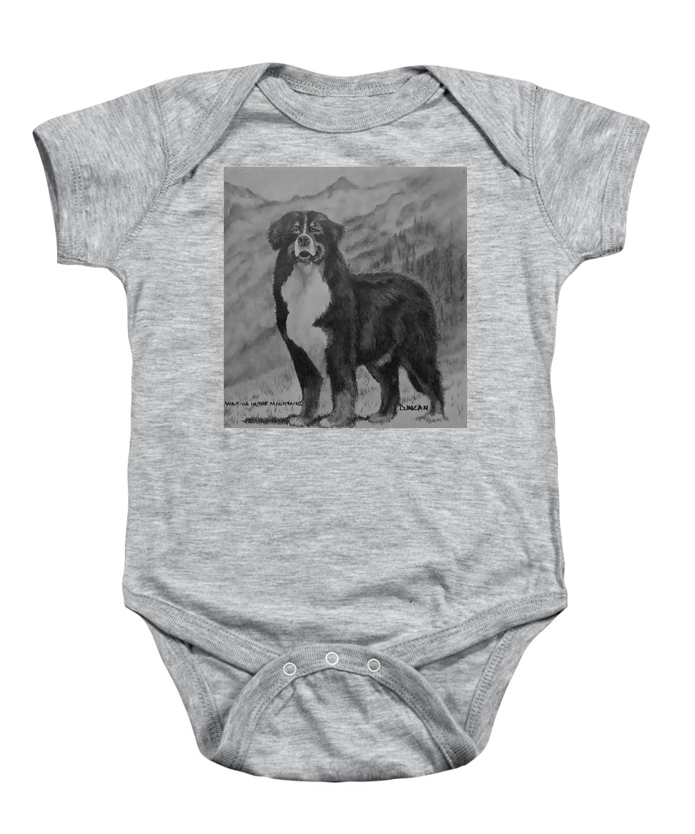 Bernese Baby Onesie featuring the drawing Waiting In The Mountains by Ralph Duncan