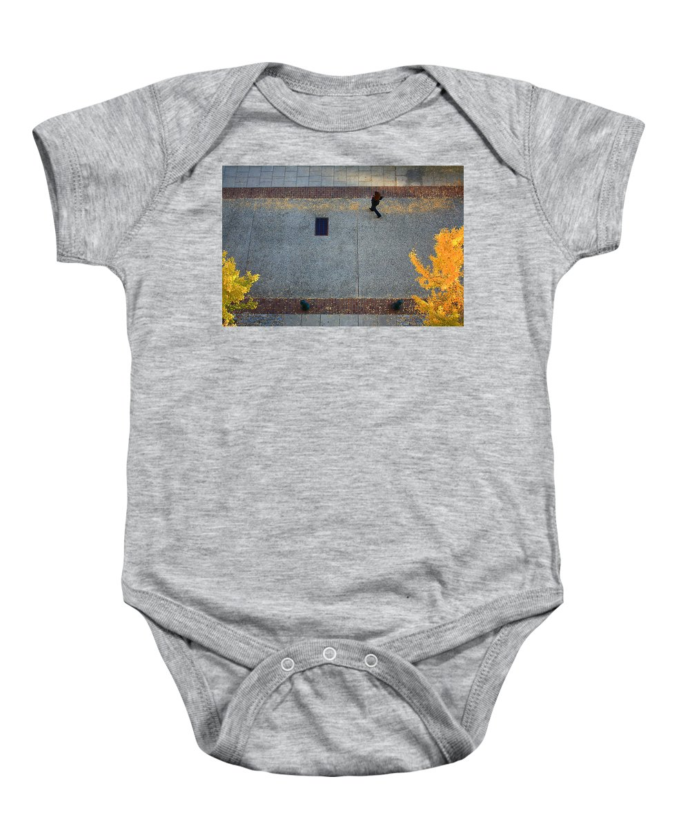 Wall Street Baby Onesie featuring the photograph Wall Street Looking Down by Gray Artus