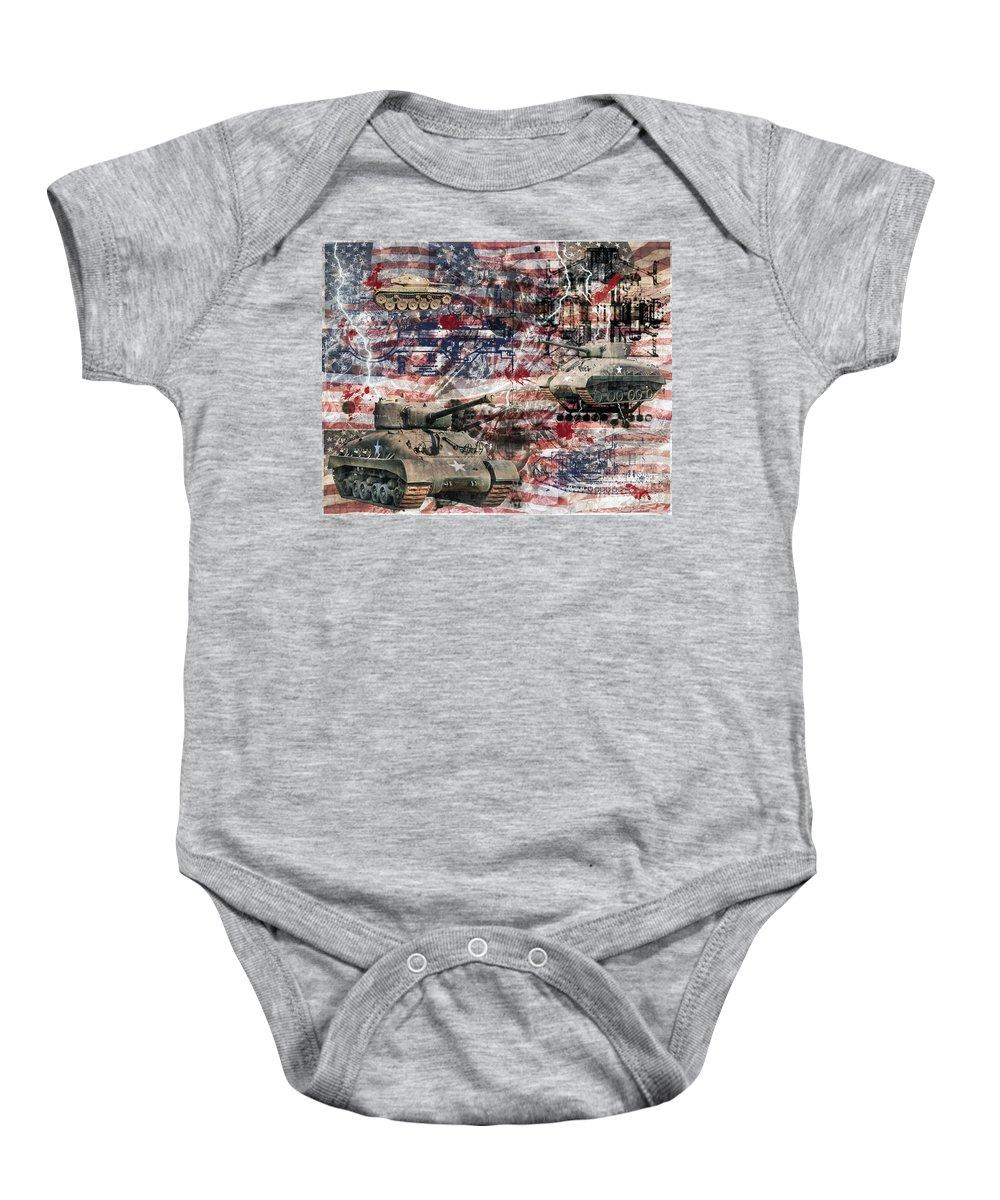U.s. Military Baby Onesie featuring the photograph War Wagons  by Ken Frischkorn