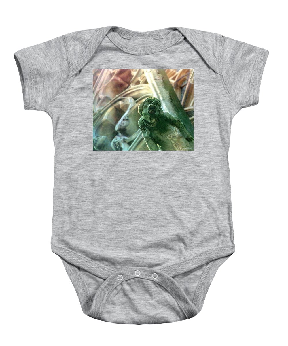 Gargoyle Baby Onesie featuring the photograph Watcher From Above by Diana Haronis