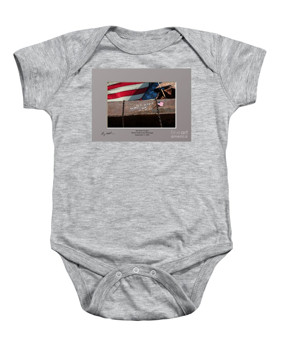 New York City Baby Onesie featuring the digital art We Won't Forget by Tommy Anderson