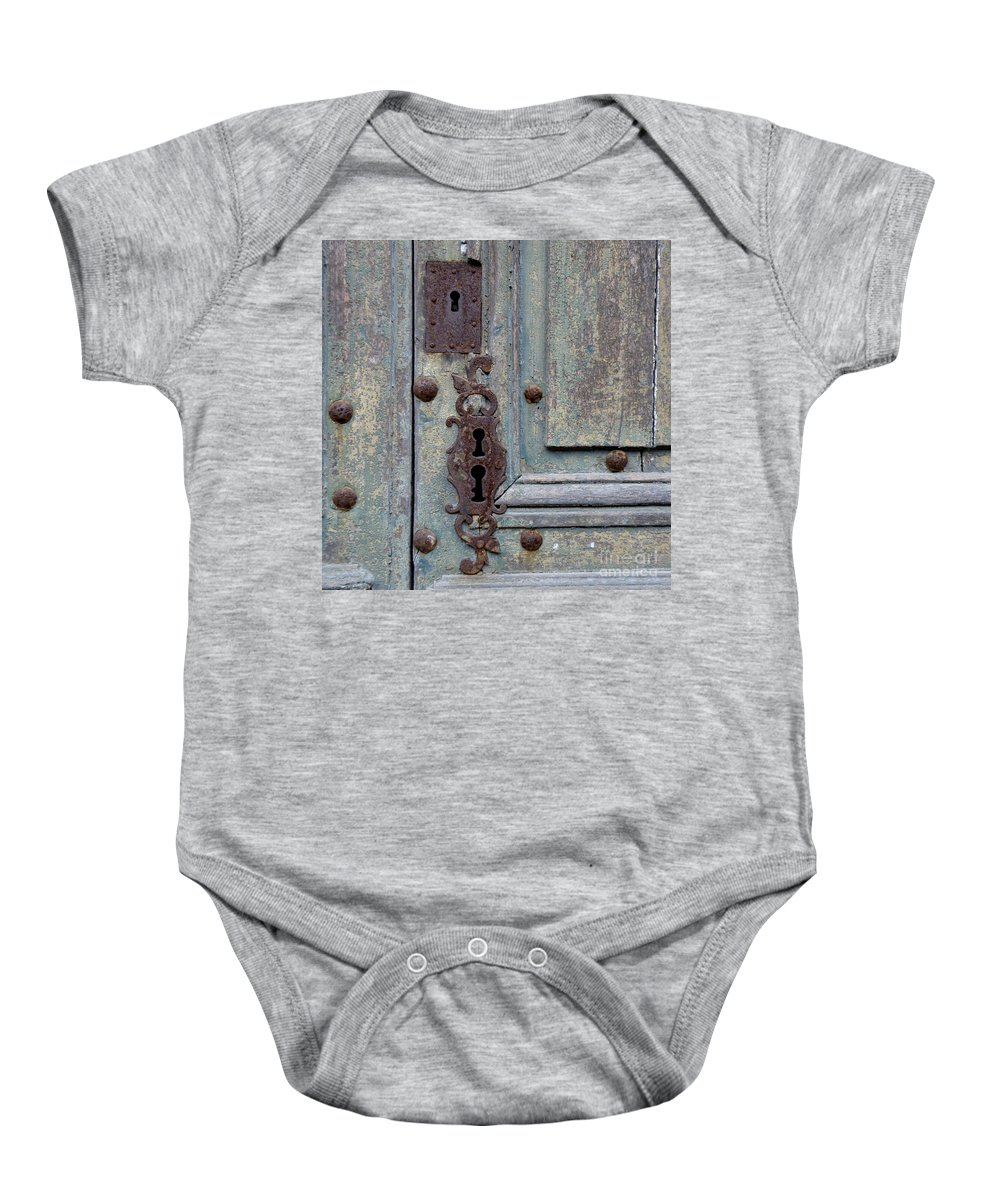 Door Baby Onesie featuring the photograph Weathered by Lainie Wrightson