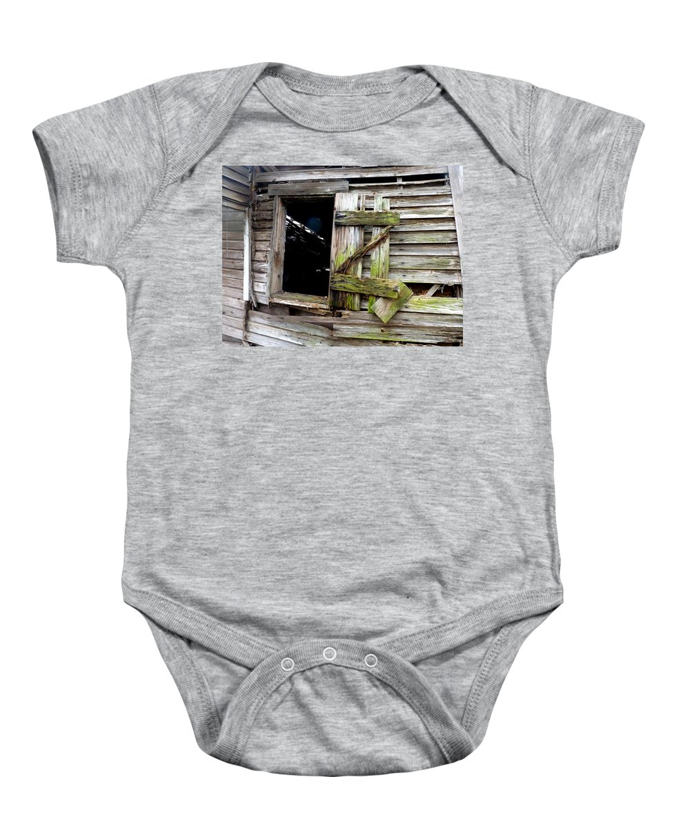 Window Baby Onesie featuring the photograph Weathered Wood Window by Carla Parris