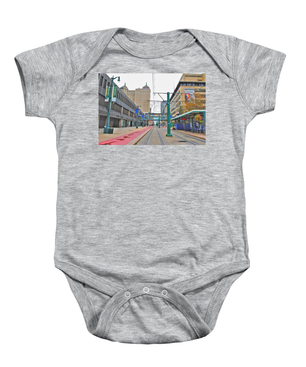 Baby Onesie featuring the photograph Welcome To Dt Buffalo by Michael Frank Jr