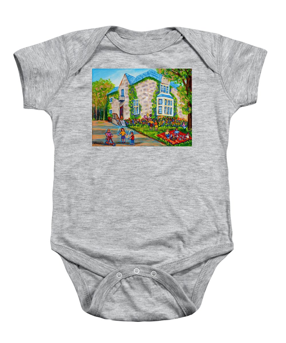 Montreal Baby Onesie featuring the painting Westmount Birthday Party-montreal Urban Scene-little Girls Playing by Carole Spandau