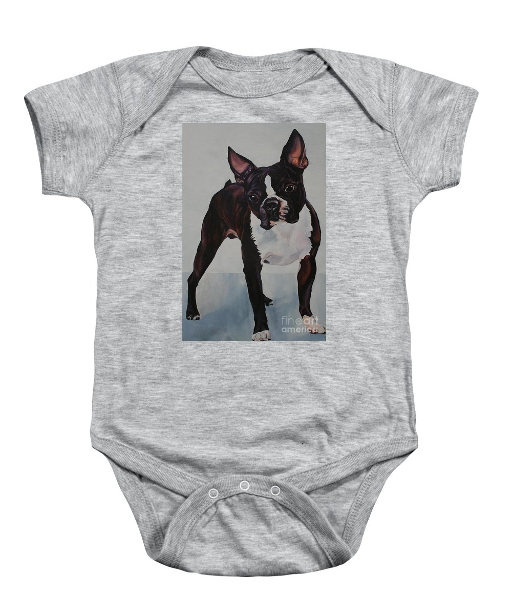 Boston Terrier Baby Onesie featuring the painting What by Susan Herber