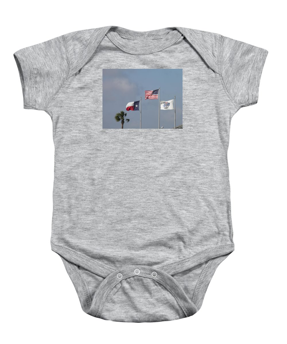 Flags Baby Onesie featuring the photograph Whataburger Field Flags by Sandra Vasko