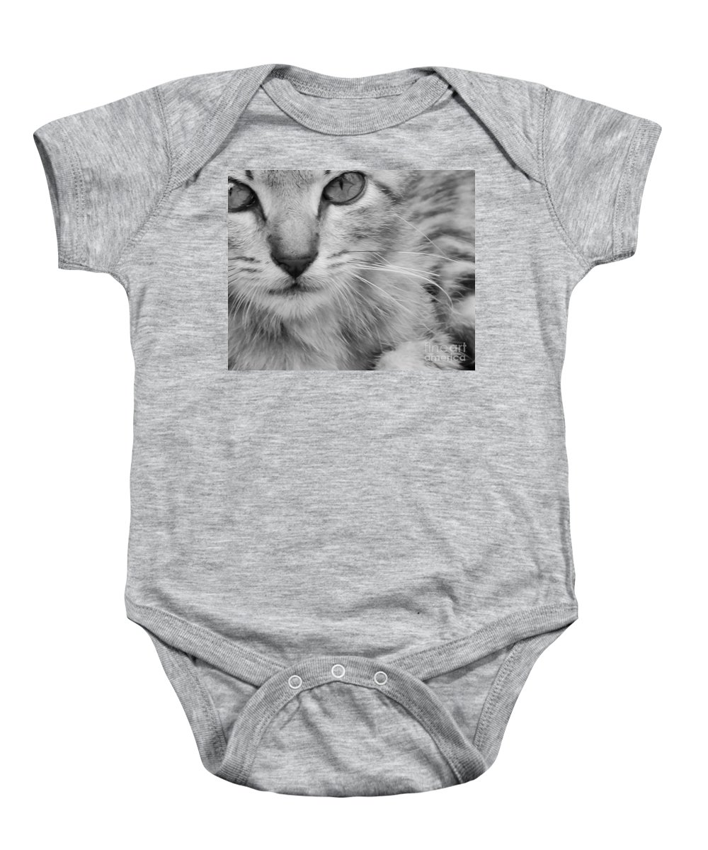 Kitten Baby Onesie featuring the mixed media When Your World Is Quite by Kim Henderson