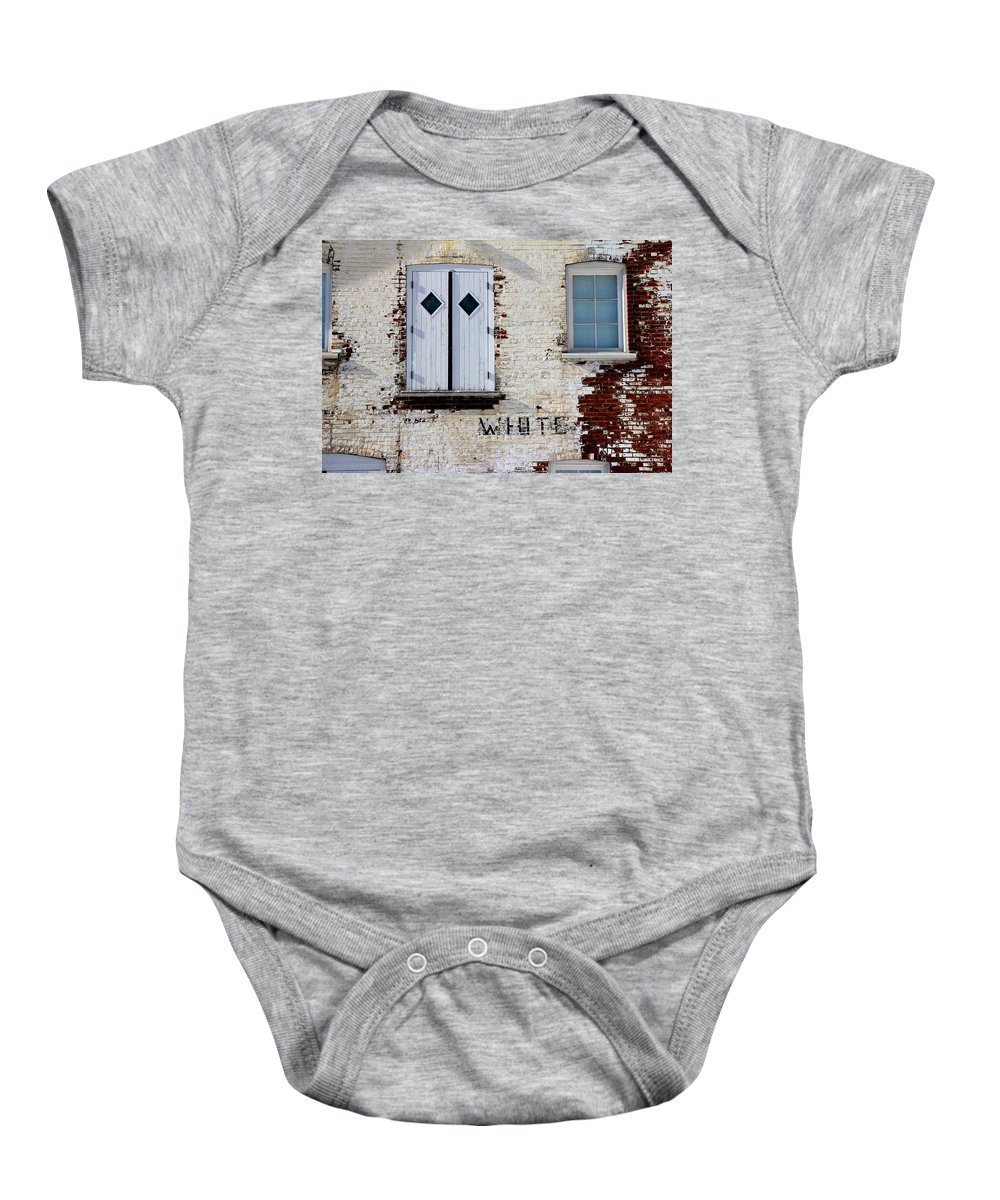 Brick Baby Onesie featuring the photograph White Brick by Andrew Fare