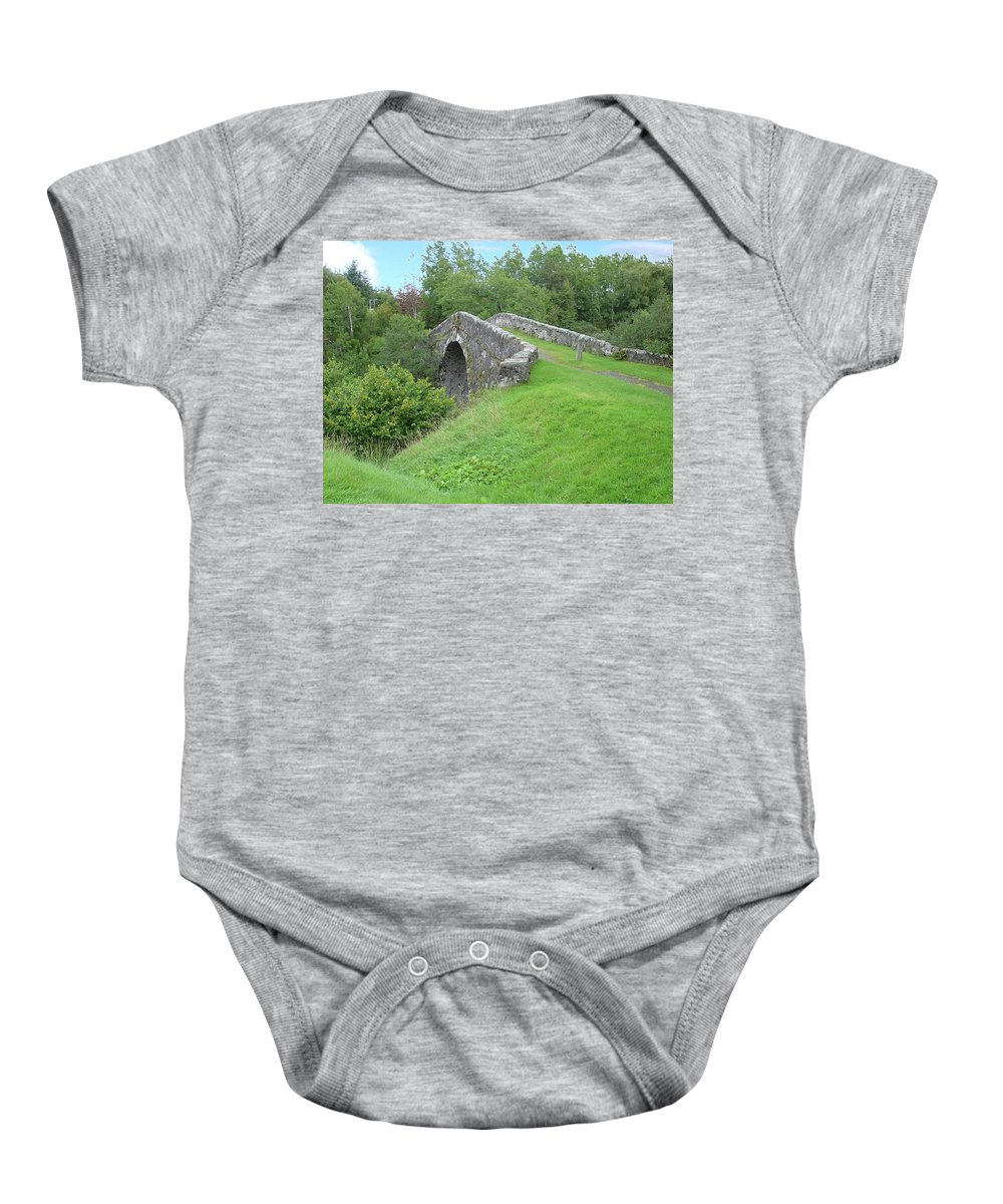 White Baby Onesie featuring the photograph White Bridge Scotland by Charles and Melisa Morrison