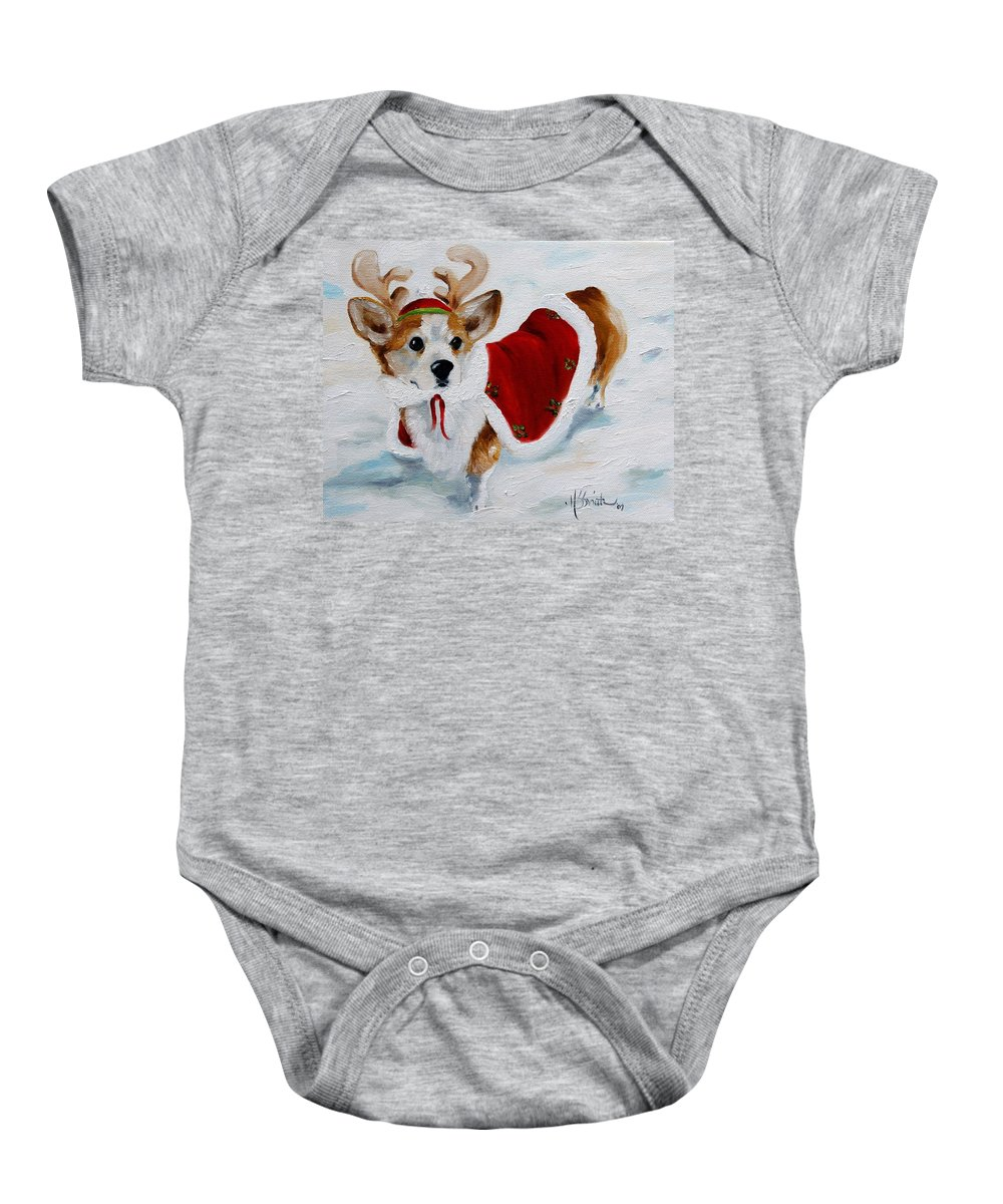 Art Baby Onesie featuring the painting White Christmas by Mary Sparrow