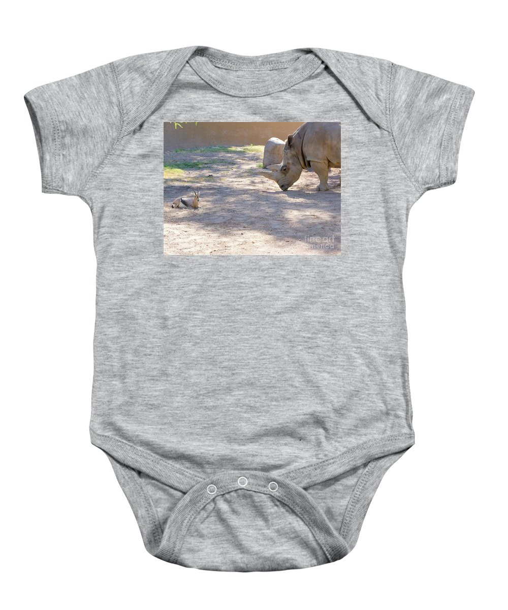Animals Baby Onesie featuring the photograph White Rhino And Ibex by Mary Deal