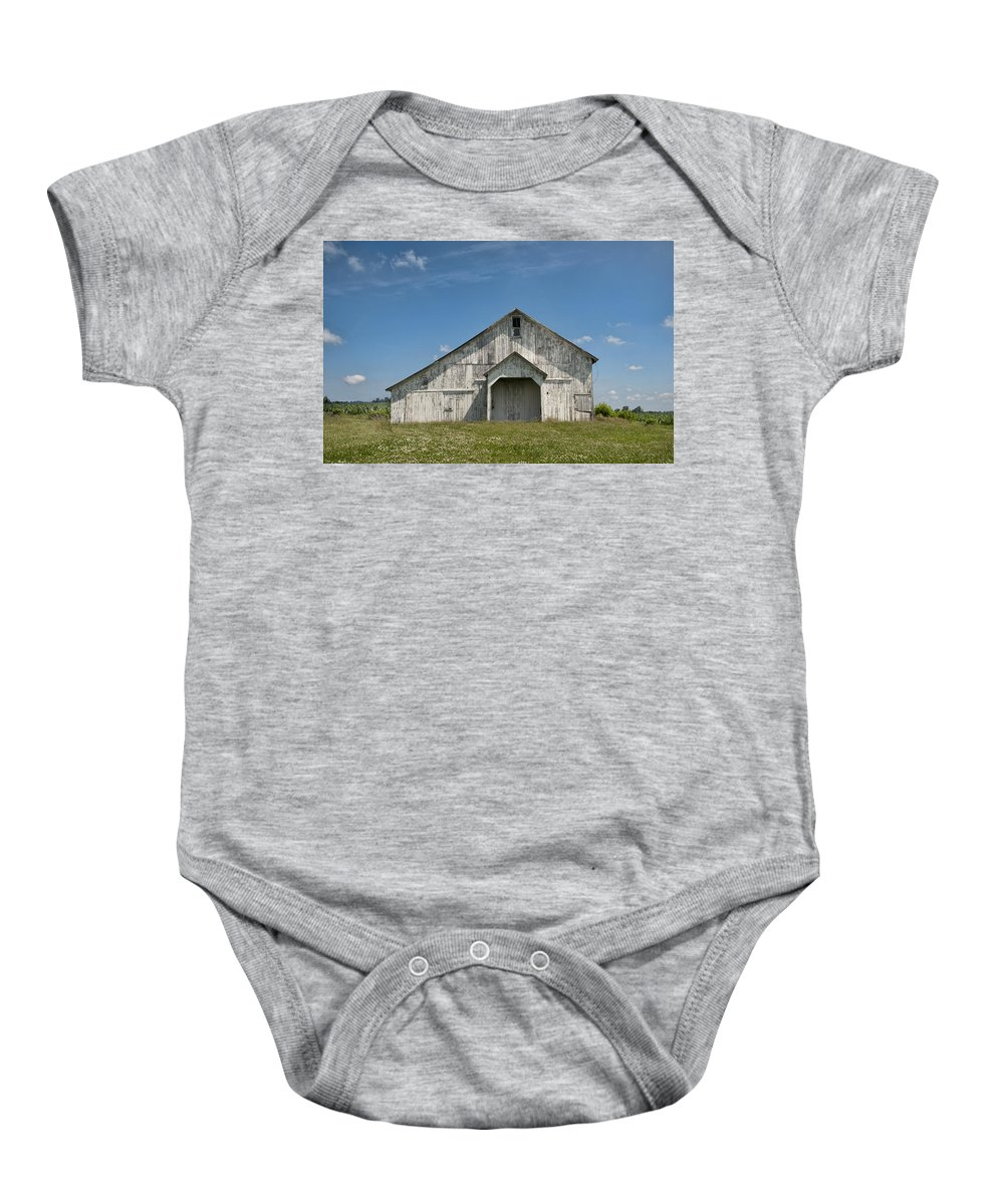 Barn Baby Onesie featuring the photograph Whte Barn by David Arment
