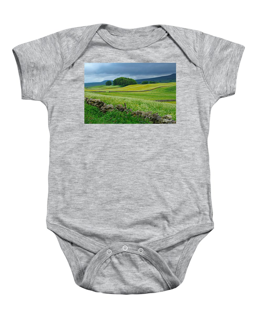 Wildflower Baby Onesie featuring the photograph Wildflower Meadow Near Hawes by Louise Heusinkveld