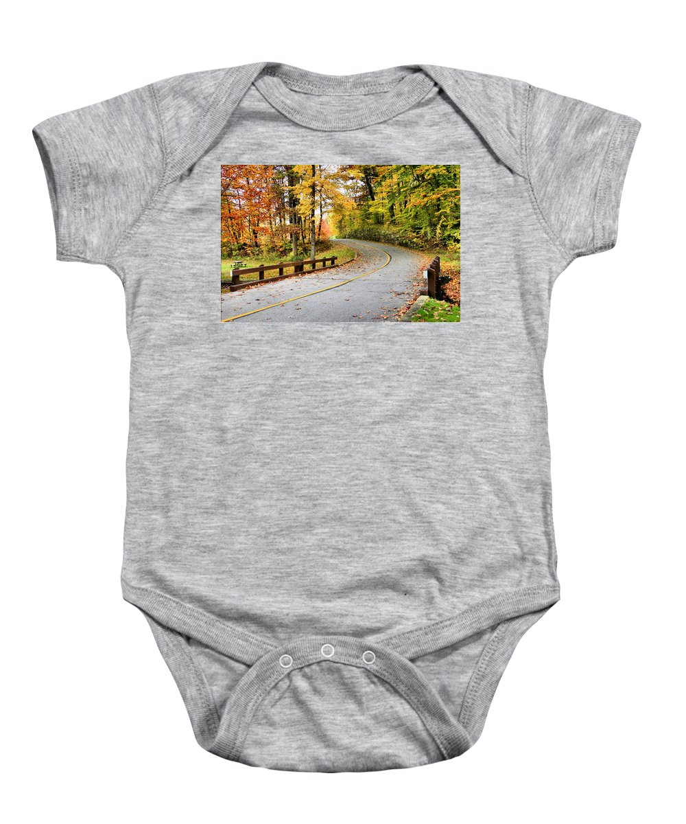 Monroe Falls State Park Baby Onesie featuring the photograph Winding Road by Kristin Elmquist