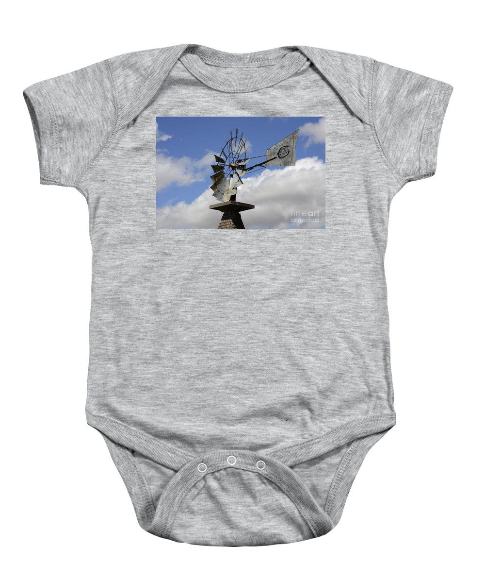 Windmill Baby Onesie featuring the photograph Windmill 2 by Bob Christopher