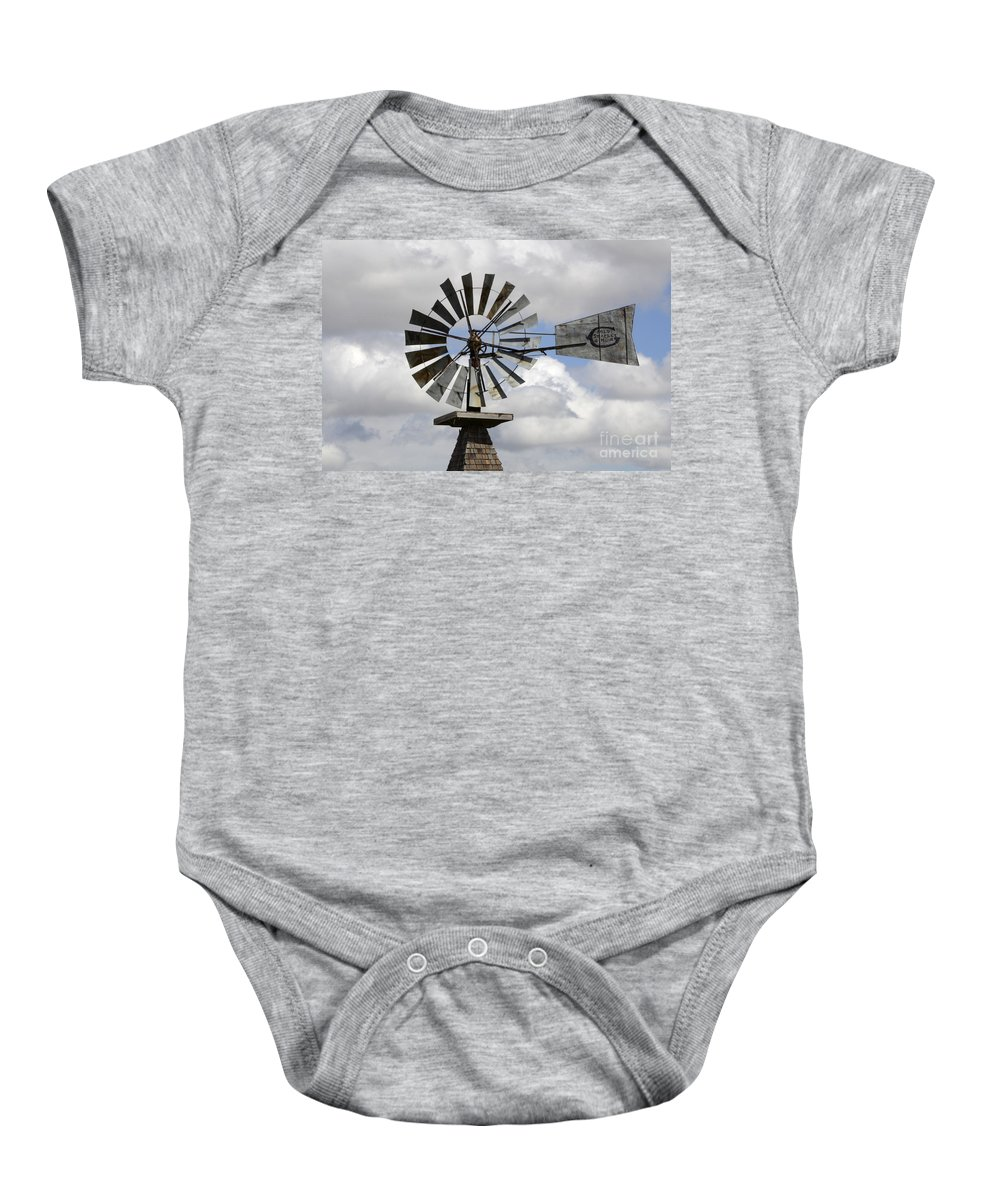 Windmill Baby Onesie featuring the photograph Windmill 6 by Bob Christopher