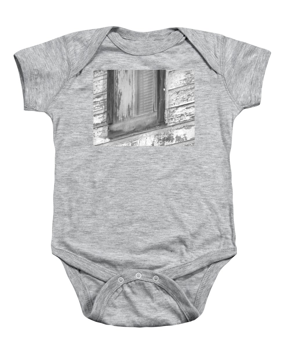 Abstract Baby Onesie featuring the photograph Window With Screen by Lenore Senior