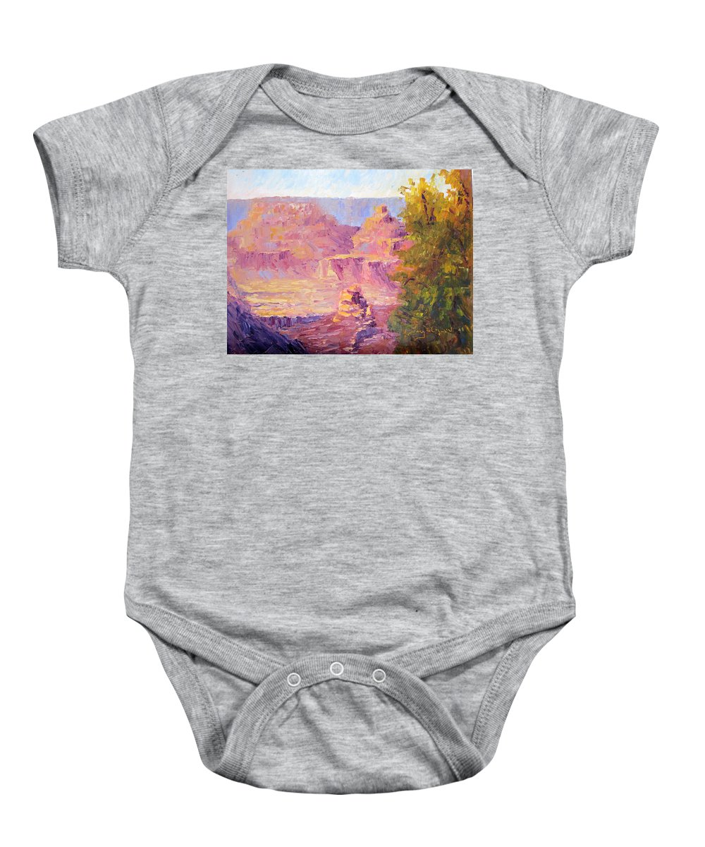 Grand Canyon Baby Onesie featuring the painting Windy Day In The Canyon by Terry Chacon