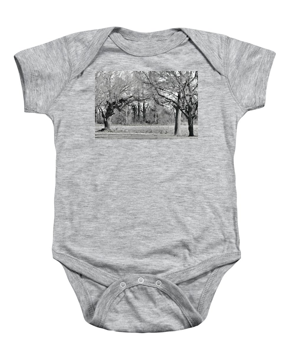Nature Baby Onesie featuring the photograph Winter At The Edge Of The Woods by Debbie Portwood