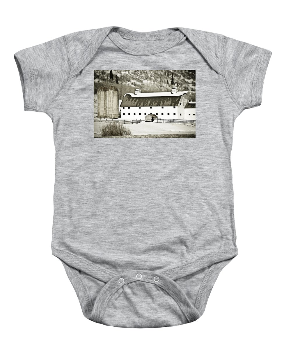 Winter Baby Onesie featuring the photograph Winter Barn 2 by Marilyn Hunt