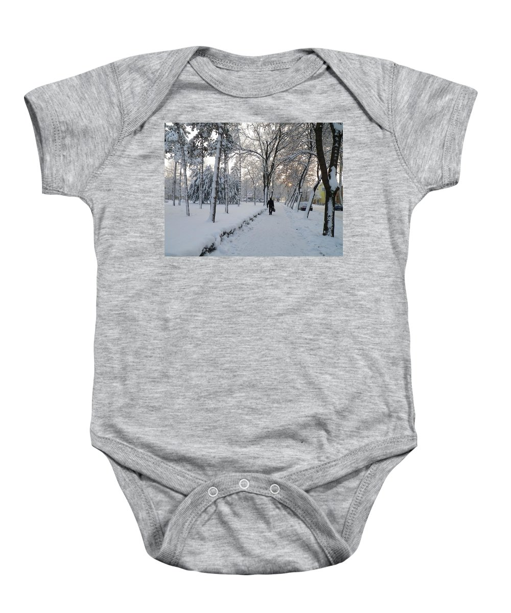 Snow Baby Onesie featuring the photograph Winter In Mako by Anna Ruzsan